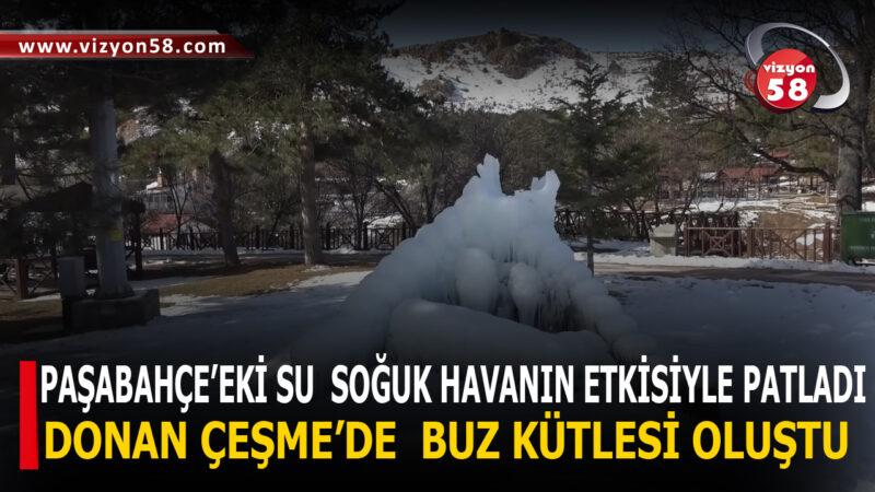 DONAN ÇEŞME'DE  BUZ KÜTLESİ OLUŞTU